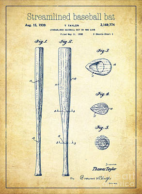 Single Object Drawing - Streamlined Baseball Bat Or The Like Vintage Us 2169774 A by Evgeni Nedelchev
