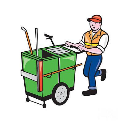 Trolley Digital Art - Streeet Cleaner Pushing Trolley Cartoon Isolated by Aloysius Patrimonio