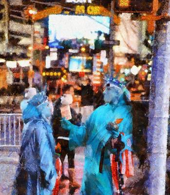 Statue Of Liberty At Night Painting - Street Actors In Times Square by Dan Sproul