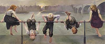 Child Swinging Painting - Street Arabs At Play by Dorothy Stanley