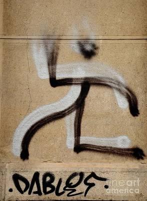 Art Print featuring the photograph Street Art 'dablos' Graffiti In Bucharest Romania  by Imran Ahmed