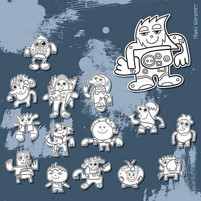 Street Art Doodle Characters Print by Frank Ramspott