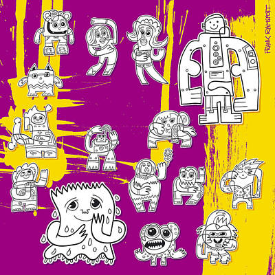 Cartoon Digital Art - Street Art Doodle Characters Urban by Frank Ramspott