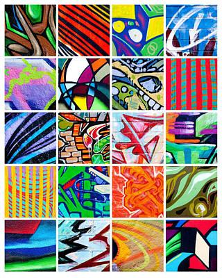 Street Art Patchwork Art Print by Art Block Collections