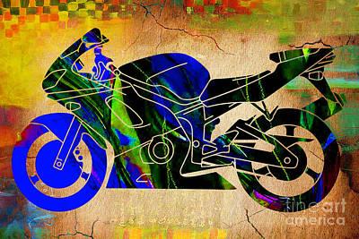 Street Bike Painting Print by Marvin Blaine