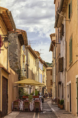Street Cafe In Cassis Art Print by Georgia Fowler