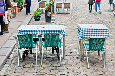 Table Cloth Photograph - Street Cafe by Tom Gowanlock