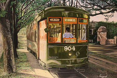 New Orleans Oil Painting - Street Car - New Orleans by Hung Quach