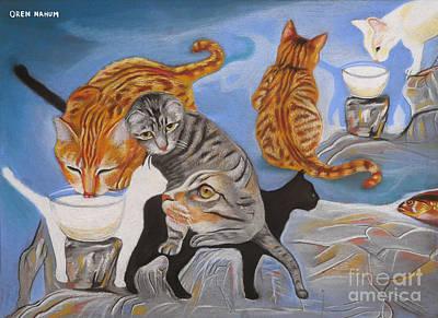 Fish-eye Look Painting - Street Cats by Oren Nahum