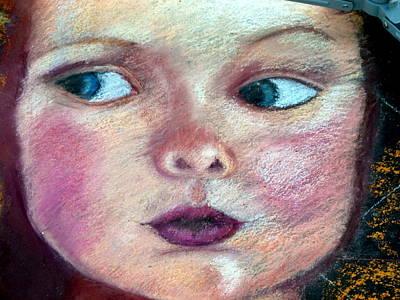Photograph - Street Chalk Art Portrait by Jeff Lowe