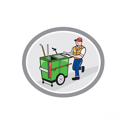 Workers Digital Art - Street Cleaner Pushing Trolley Oval Cartoon by Aloysius Patrimonio