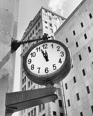 Street Clock Print by Rudy Umans