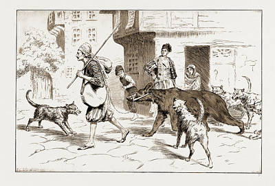 Keeper Drawing - Street Dogs Barking At A Dancing Bear And His Keeper by Litz Collection