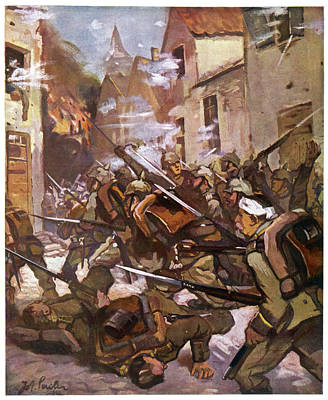 Street Fighting In A French  Village Art Print by Mary Evans Picture Library