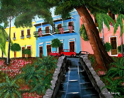 Puerto Rico Painting - Street Hill In Old San Juan by Luis F Rodriguez