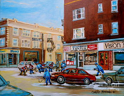 Hockey Art Boys Playing Hockey Painting - Street Hockey On Monkland Avenue Paintings Of Montreal City Scenes by Carole Spandau