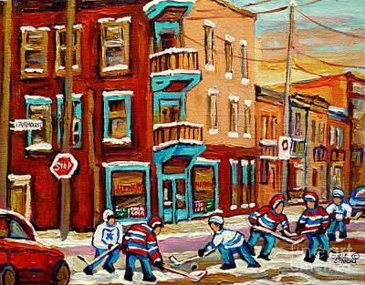 Hockey Sweaters Painting - Street Hockey Practice Wilensky's Diner Montreal Winter Street Scenes Paintings Carole Spandau by Carole Spandau