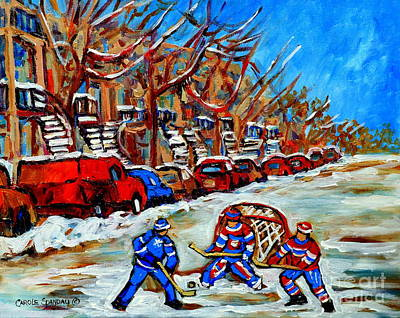 Montreal Cityscenes Painting - Street Hockey Row Houses Goalie Makes The Save Verdun Montreal Hockey Art Carole Spandau by Carole Spandau