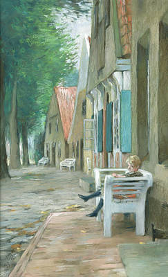 Sit-ins Painting - Street In Altenbruch by Thomas Ludwig Herbst