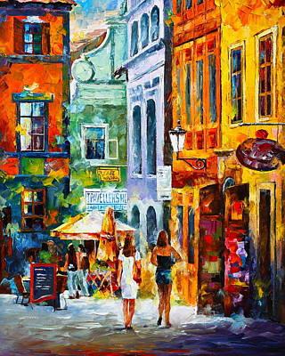 Alleyway Painting - Street In Amsterdam by Leonid Afremov