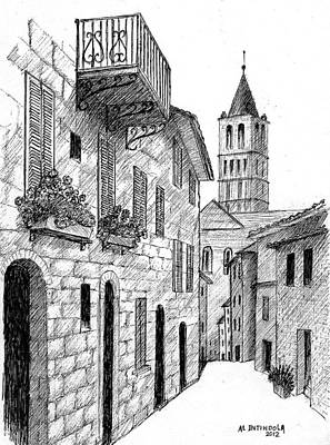 Street In Assisi Italy Art Print