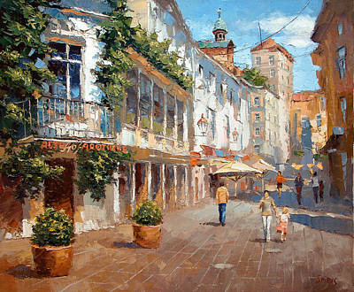 Art Print featuring the painting Street In Baden Baden by Dmitry Spiros