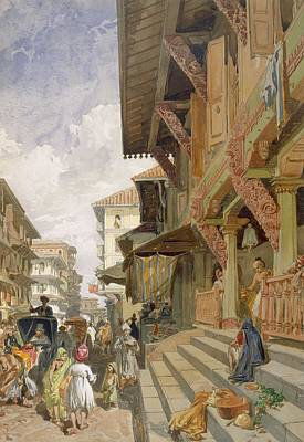 Traffic Drawing - Street In Bombay, From India Ancient by William 'Crimea' Simpson