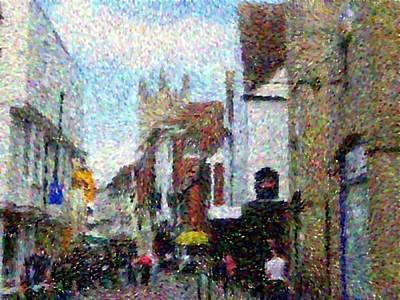 Pointillist Digital Art - Street In Canterbury by Grace Renshaw