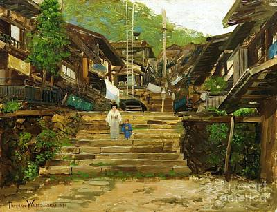 Painting - Street In Ikao by Pg Reproductions