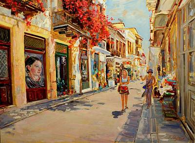 Painting - Street In Nafplio Greece by Sefedin Stafa