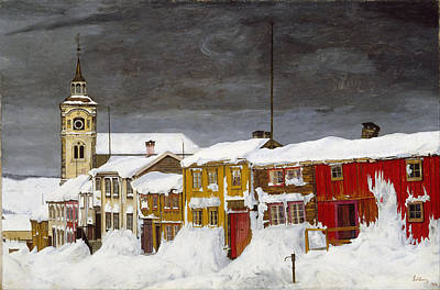 Harald Painting - Street In Roros In Winter by Harald Sohlberg
