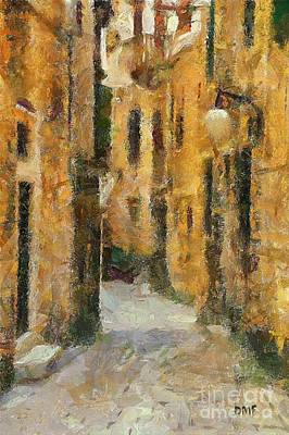 City Scenes Painting - Street In The Old Town by Dragica  Micki Fortuna