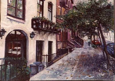 Print featuring the painting street in the Village NYC by Walter Casaravilla