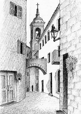 Drawing - Street In Tuscany by Al Intindola