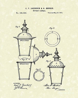 Drawing - Street Lamp 1873 Patent Art by Prior Art Design