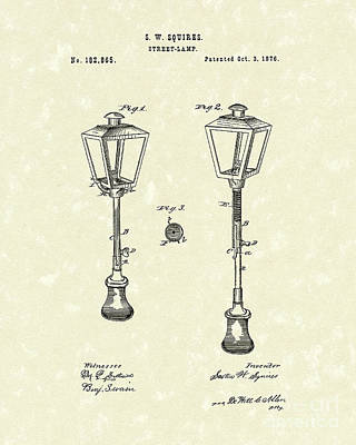 Street Drawing - Street Lamp 1876 Patent Art by Prior Art Design