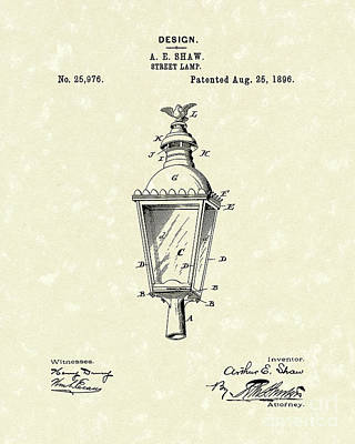 Drawing - Street Lamp 1896 Patent Art by Prior Art Design