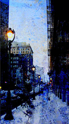 Street Lamps Digital Art - Street Lamp And Blue Abstract Painting by Anita Burgermeister