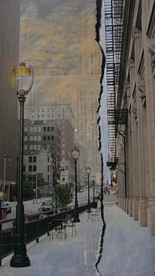 Street Lamps Digital Art - Street Lamp And Painted Newspaper by Anita Burgermeister