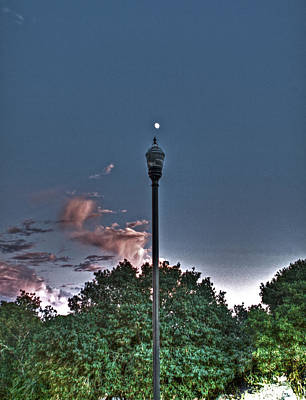 Photograph - Street Lamp And Sunset Moon by SC Heffner