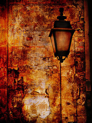 Photograph - Street Lamp And Wall Texture Arles France by Bob Coates
