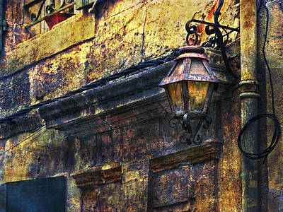 Photograph - Street Lamp And Wall Texture Arles France Number Eight by Bob Coates
