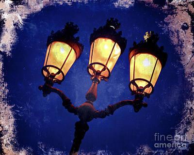Old Street Photograph - Street Lamp Illuminated - Art Effect Image by Bernard Jaubert
