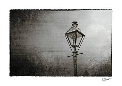 Street Lamp On The River In Black And White Art Print by Brenda Bryant