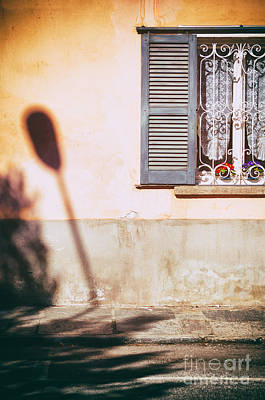 Print featuring the photograph Street Lamp Shadow And Window by Silvia Ganora