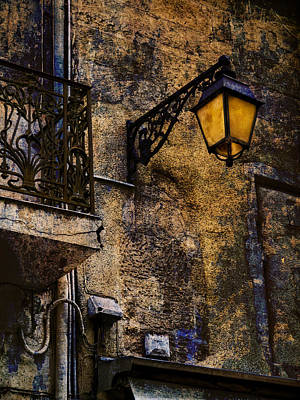 Photograph - Street Lamp With Textured Wall Arles France Number Eleven by Bob Coates