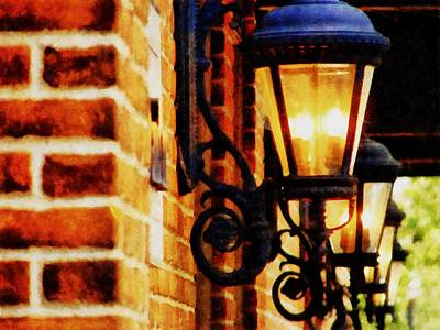 Victorian Town Digital Art - Street Lamps In Olde Town by Michelle Calkins
