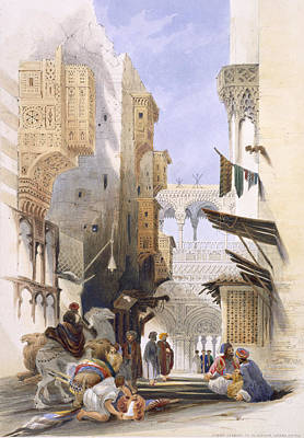 Camel Drawing - Street Leading To El Azhar, Grand by A. Margaretta Burr