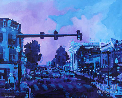 Street Life On Broad Street Art Print by Michael Ciccotello