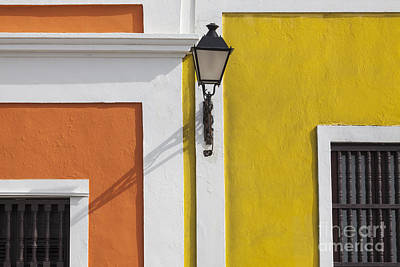 Photograph - Street Light In Old San Juan Streetlight Puerto Rico by Bryan Mullennix